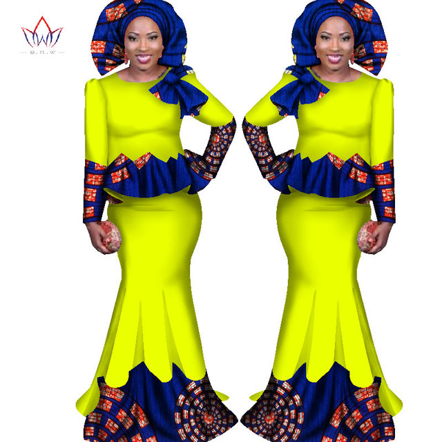 Africa Style Bazin Riche Dresses for Women Two Pieces Set Women Long Sleeve  Tops and Long African Print Skirt Plus Size WY1682 3baf5ac90439