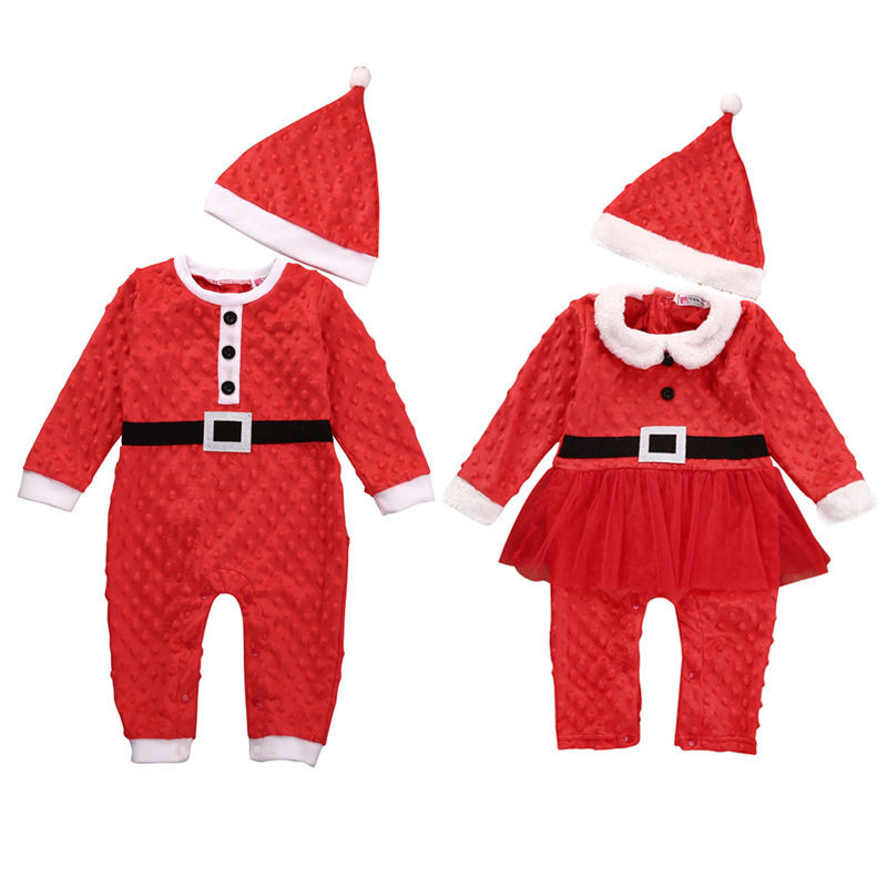 e06cdd2a5aab Christmas Party Rompers Newborn Baby Boys Girls Santa Claus Jumpsuit ...