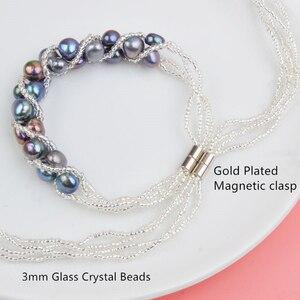 Image 5 - ASHIQI Natürliche Süßwasser Perle Schmuck Sets & Mehr Hand gestrickte Halskette Armband Ohrringe für Frauen NE + BR + EA