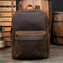 LAPOE Brand Designer Men Genuine Leather Backpack Crazy Horse Vintage Daypack Multi Pocket Casual Rucksack Vintage Handmade Tote