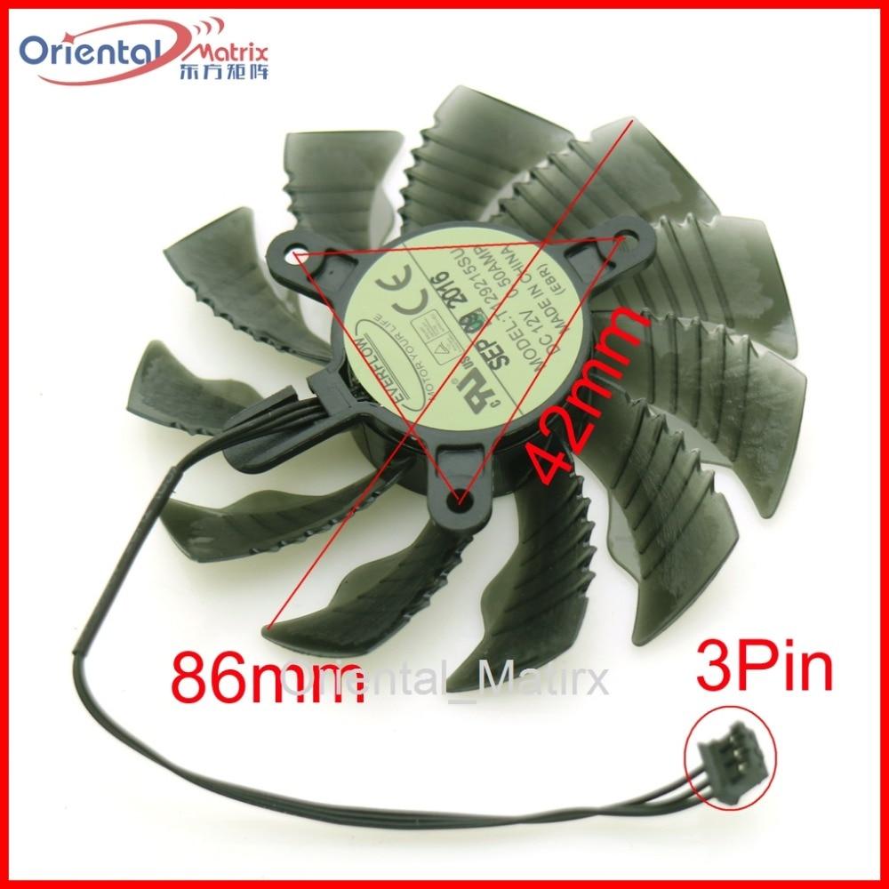 T129215SU 12V 0 50A 86mm 3Pin VGA Fan For Gigabyte GV N1050D5 2GD GTX1050 GTX1060 Graphics