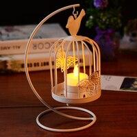 Vintage Wedding Metal White Butterfly Lantern Candlestick Hanging Birdcage Tealight Candle Holder Stand Home Desktops Decor