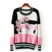 Feminino casual costura guindaste flor bordado suéter