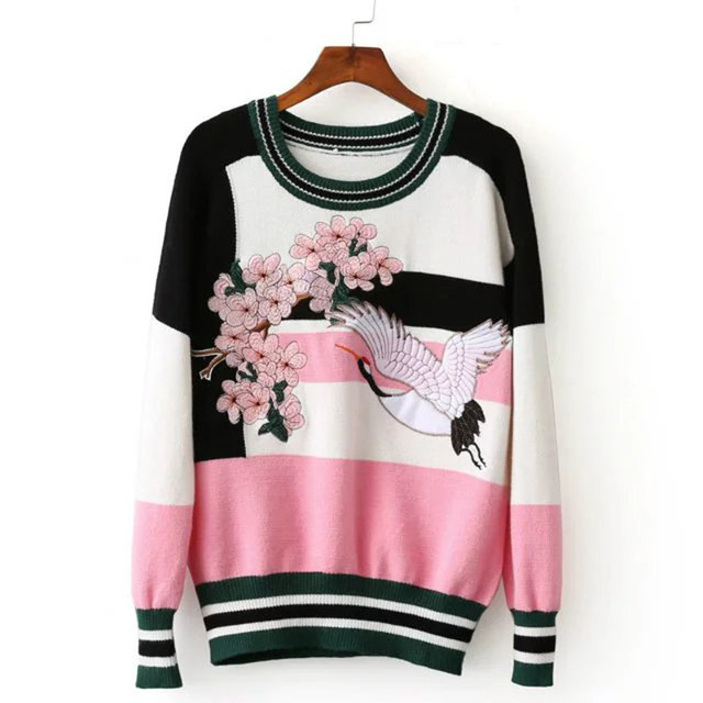 female casual stitching crane flower embroidery sweater