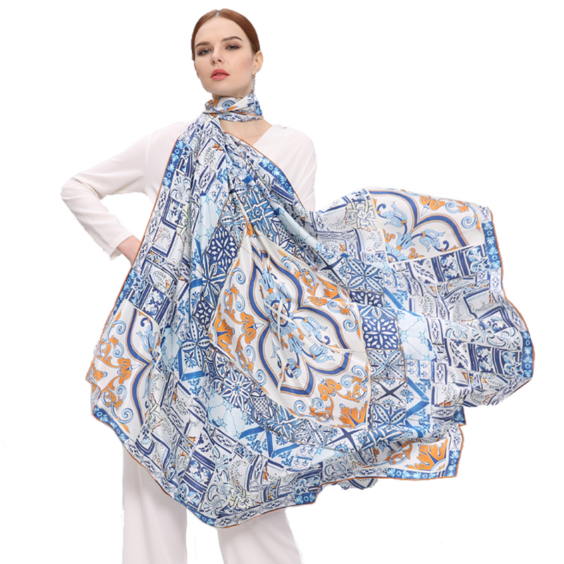 2017 New Fashion 135*135cm Women Scarves 100% Silk Square Digital Print Chinese Style Satin All-Match Pashmina Hijab
