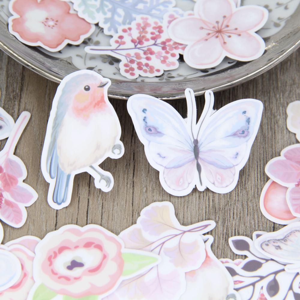 34pcs Bird Butterfly Flower Leave Scrapbooking Stickers Lady Girls DIY Craft Decorative Sticker Pack focal bird pack 5 1 super bird