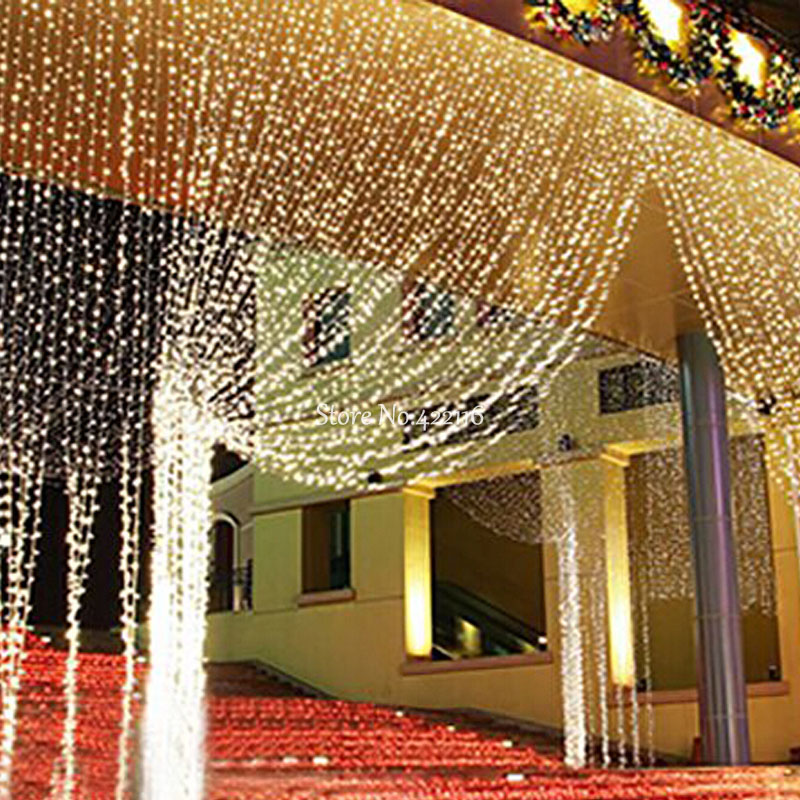 6x3m led curtain lights led christmas string fairy lights for Indoor light decoration ideas