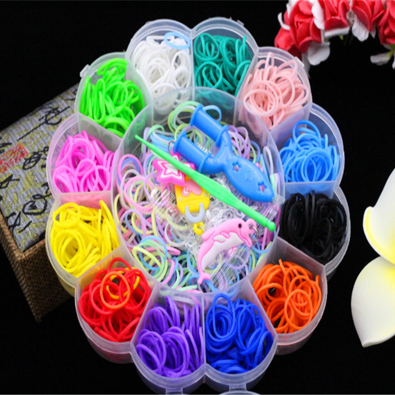 Colorful Gum For Bracelets Loom Bands Refills Cute Animal Boxed S Nail Button Bangle Loom Rubber Bands For DIY BRACELET Toys