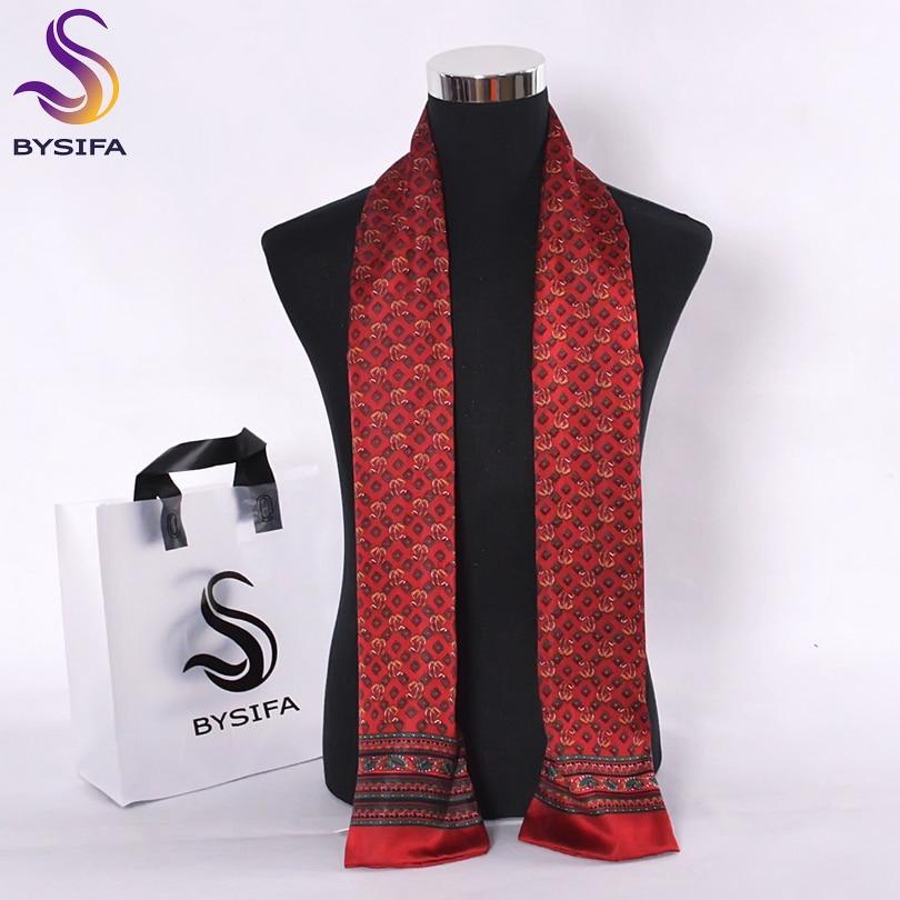 [BYSIFA] Frence Male Scarves New Design Plaid Dot Chain Men Long Silk Scarves Brand Pure Silk Satin Men Cravat Scarves 160*26CM