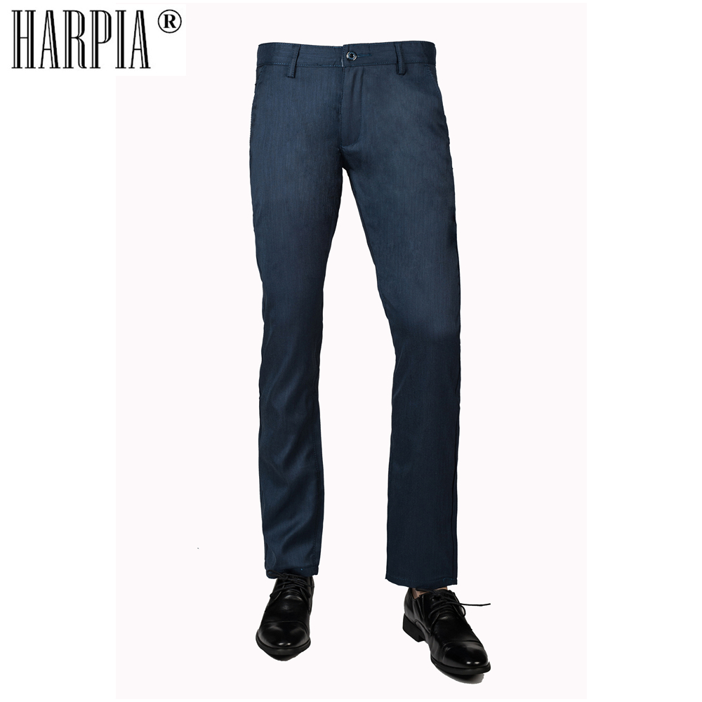 HARPIA Dark Blue Straight Classic Business Mens Pants 2018 Men Cotton Stretch Regular Slim trousers Fashion Office Pants Male