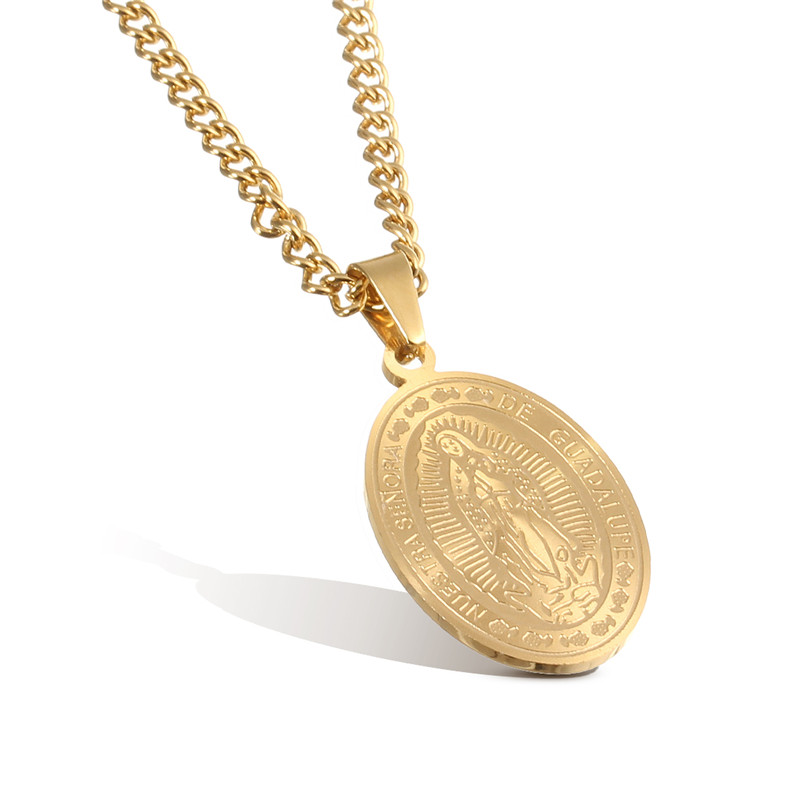 cross filled chain itm jesus stainless gold mens s steel necklace pendant