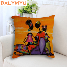 Decorative Cushion For Sofa Abstract Africa Oil Painting African Life Linen Throw Pillow Case Exotic Decoration Cushion Cover цена