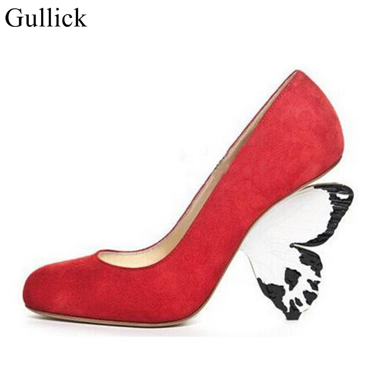 Gullick Sexy Butterfly Heels Pumps For Women Round Toe Strange Heel Women Party Bride Dress Shoes Size 11 Platform Pumps new women s high heels pumps sexy bride party thick heel round toe genuine leather high heel shoes for office lady women t8802