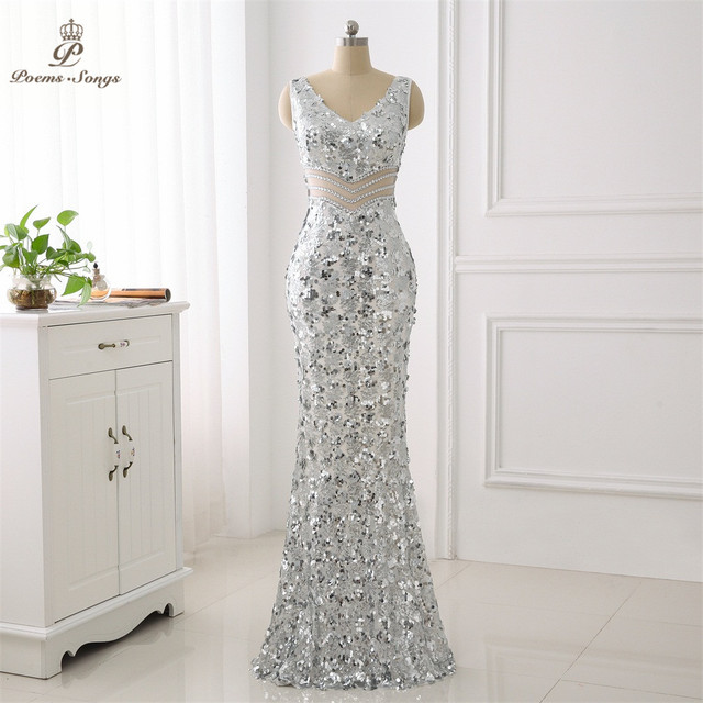 Poems Songs Double-V Formal Elegant Evening Dress vestido de festa Sexy  Luxury Silver Long Sequin robe longue gown bride bf0b984c2142