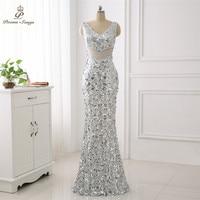 Poems Songs Double V Formal Elegant Evening Dress vestido de festa Sexy Luxury Silver Long Sequin robe longue gown bride