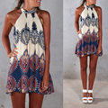 2017 New Style Summer Dress Boho Women Dress Printed Halter Style Sleeveless Beach Party Mini Dresses Plus Size Vestidos Beige