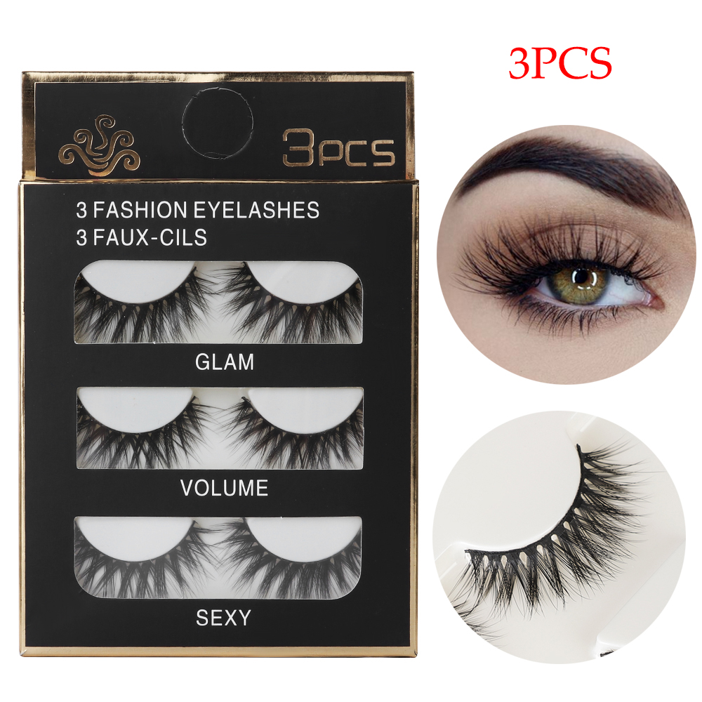3 Pairs 3D Mink Hair Lash Black False Eyelashes Wispy Cross Lashes Natural Long Eyelashes Makeup Extension Handmade Eyelash