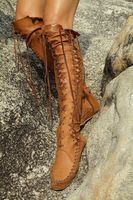 2018 Flat Green Leather Cowboy Women Boots Retro Autumn Spring Boots Lace Up Knee High Boots Shoes Woman Botas Mujer Sandals