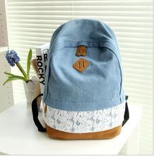 Mode Floral Dentelle + Denim Toile Femmes Sac À Dos sac D'école Pour Les Adolescents Dames Fille sac à Dos Cartable Bagpack Mochila Q0