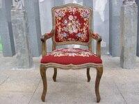 Бесплатная доставка антикварные кресла fauteuil стиле Людовика XV гобелен Гобелены резного дерева hobnails с Кружево покрывает