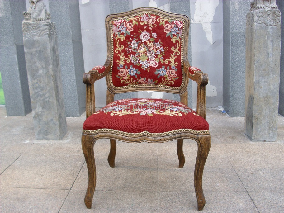 Free shipping  Antique Arm Chair Fauteuil Louis XV style Gobelin Tapestry Carved Wood Hobnails with needlepoint covers