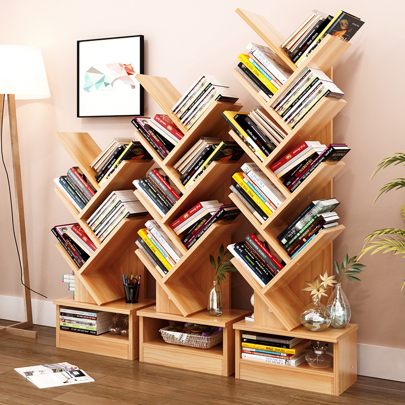 Bookshelf Floor Creative Study Bookcase Tree Shaped Book Rack Furniture Multi-grid Storage Cabinet Abrasion Wooden Display Shelf