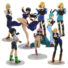 13-24cm Dragon Ball Z Gals Bulma Color Change Glitter Glamours Android 18 Videl Chi Chi China Dress PVC Figure Model Doll Toy(China)