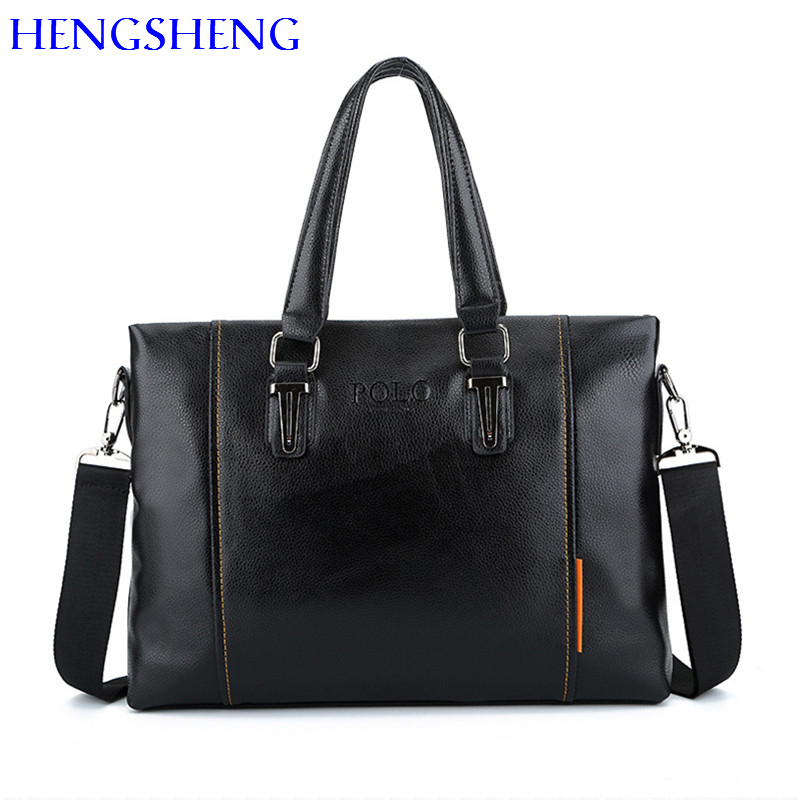 HENGSHENG Polo Briefcase for fashion laptop briefcase of quality pu leather men briefcase men shoulder bag for hot sale men bags