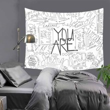 Cilected Black And White English Phrase Tapestry Wall Hanging Polyester Section Letter Printing Tapestry Blanket Beach Towel