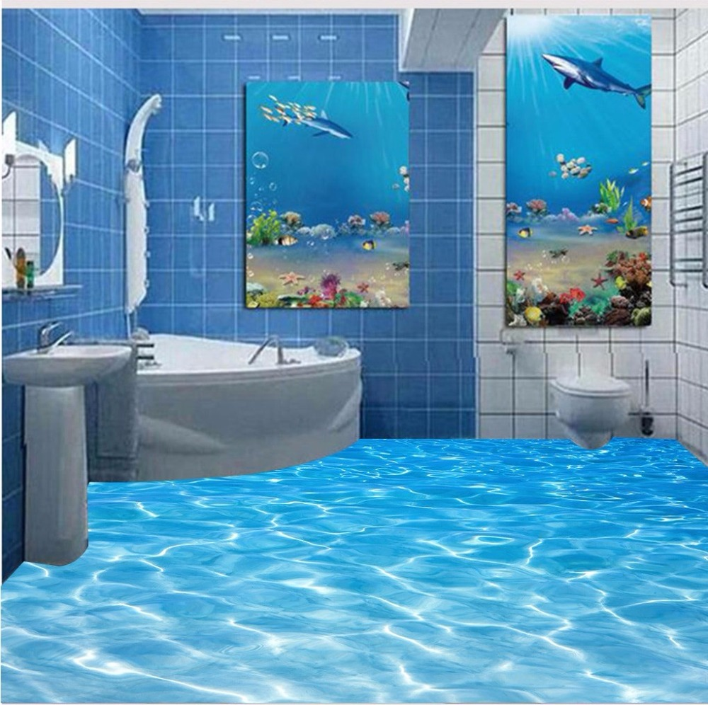 Free Shipping Sea water ripple 3D floor painting wear non-slip waterproof bedroom lobby bathroom flooring wallpaper mural free shipping floating suspension mountain dolphin 3d outdoor floor painting wear non slip bedroom bathroom flooring mural