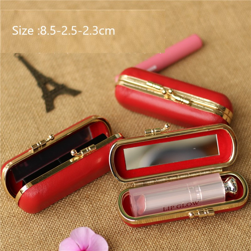 Red Handmade by genuine leather Lipstick//coin Holder Pills//Jewelry Case