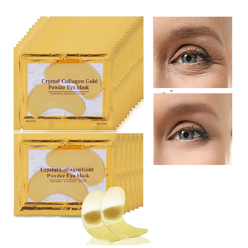 2015 Hot ! 10pcs/Lot Natural Crystal Collagen Gold Powder Eye Mask, Anti Aging Eliminates Dark Circles And Fine Lines Skin Care