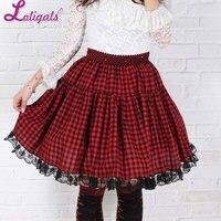 Sweet Red Short Harajuku Skirt Pleated Plaid A line Knee Length Skirt for Women