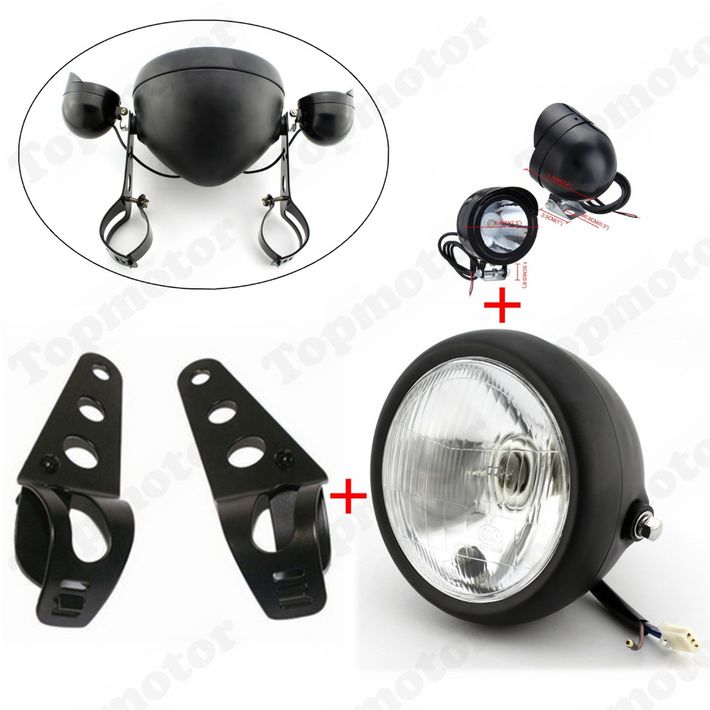 Motorcycle Black Headlight HeadLamp LED Fog Light Lamp With Bracket Universal Custom Installation