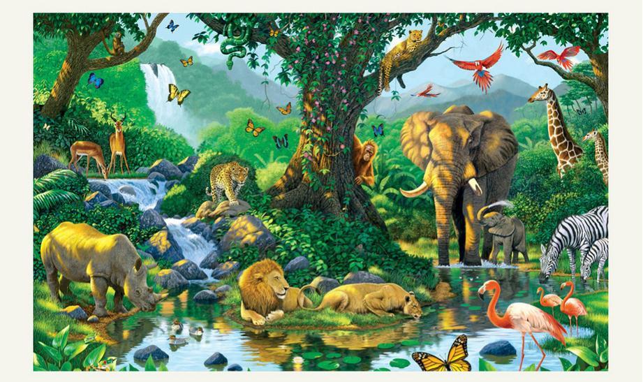 Customized 3d wallpaper 3d wall murals wallpaper sunlight green forest animals children room background wall in the river wall