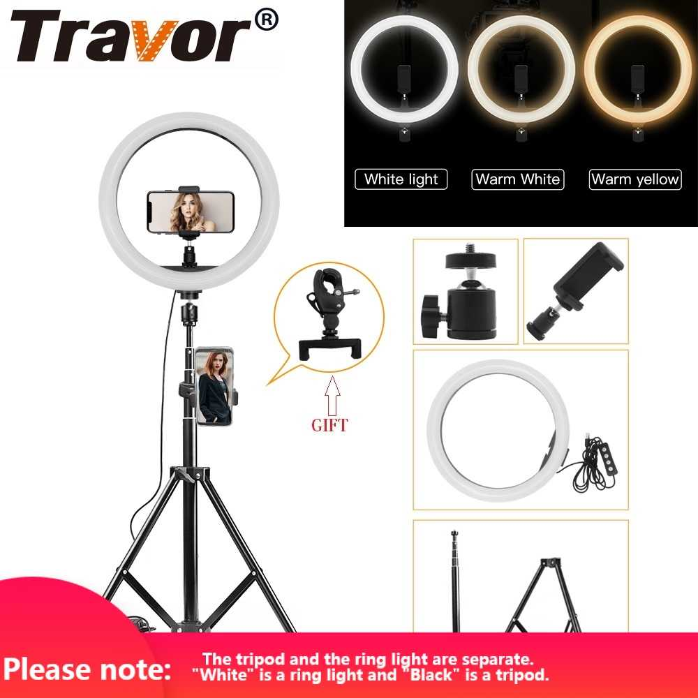 Anillo de luz Travor, 12 pulgadas, interfaz USB, 3 polos, atenuación, anillo LED, lámpara para estudio fotográfico, foto, lámpara redonda Youtube