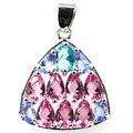 Pretty Created Pink Tourmaline, Violet Tanzanite, Blue Topaz   Silver Pendant 25x20mm