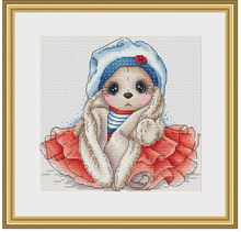 Needlework  14CT 16CT Cross Stitch, DIY Count Embroidery Set,Navy rabbit