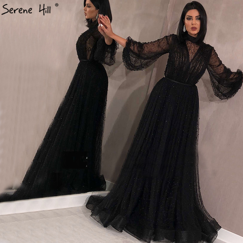 Black Peach Pearls A-Line Evening Dresses 2019 Latest Design Long Sleeves Sexy Evening Gowns Serene Hill Plus Size LA60835