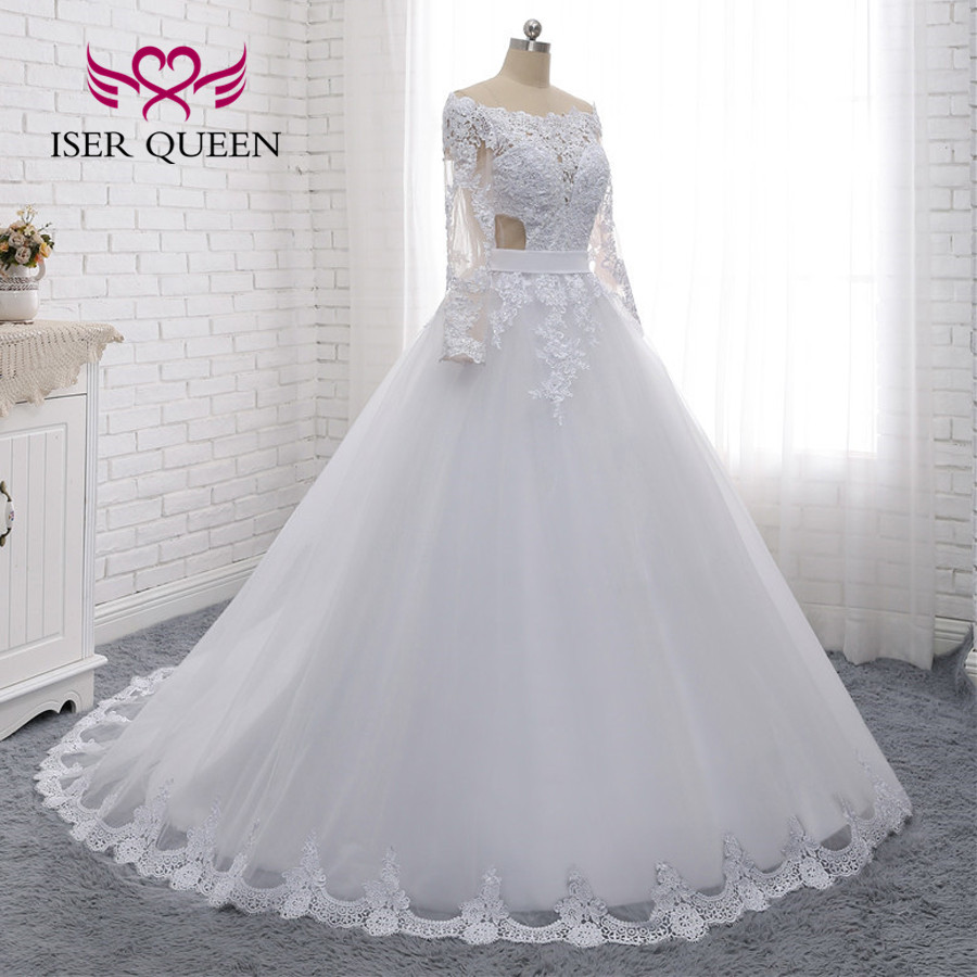 Image 3 - Illusion Back Sexy Wedding Dress A line Long Sleeves European Wedding Gowns 2019 Lace Embroidery Wedding Dresses W0274-in Wedding Dresses from Weddings & Events