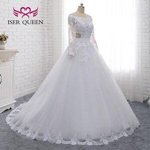Image 3 - Illusion Zurück Sexy Hochzeit Kleid EINE linie Lange Ärmeln Europäischen Hochzeit Kleider Spitze Stickerei Hochzeit Kleider W0274