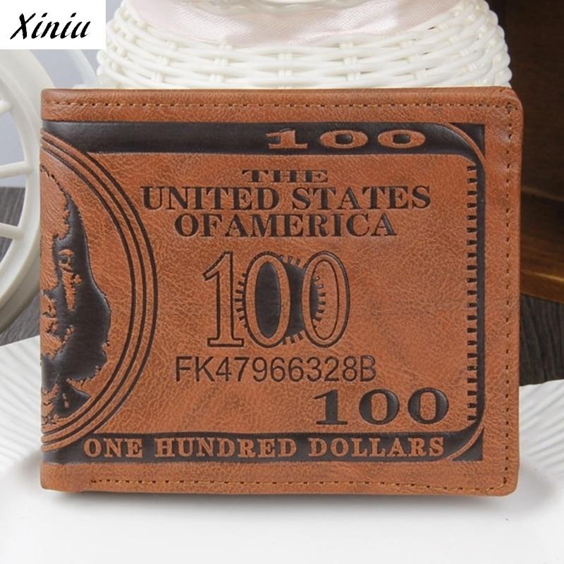 Xiniu Men Wallet Stylish US Dollar Bill Pattern Brown PU Leather Bifold Credit Card Wallet 11.5*9.5cm Purse Carteiras #1108
