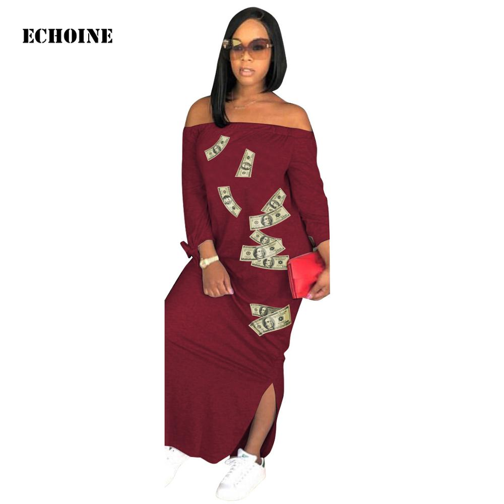 Money Trench Dollar Bill Print Party Dress Sexy Off-shoulder Plus Size Maxi Robe Femme Vestidos Split Long Longue