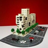 1:144 3D Battle Damaged Building Outland Model Railway Office Scene FOR Child Gift Hand Work Plastic ABS Assemble Game Set