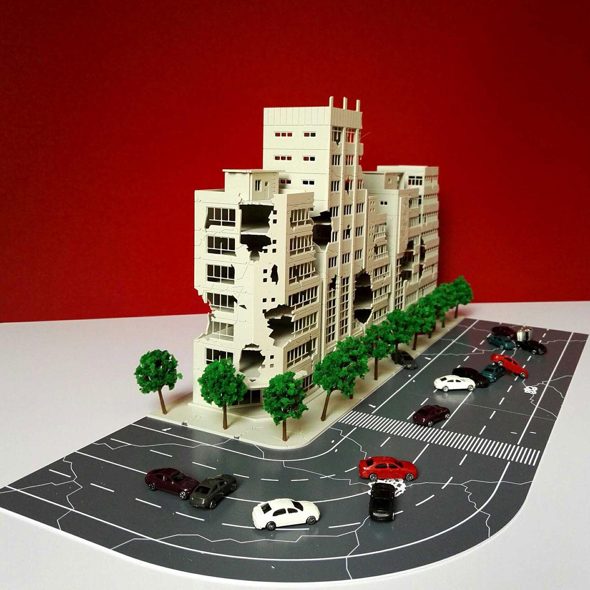 1:144 3D bataille endommagé bâtiment Outland modèle chemin de fer bureau scène pour enfant cadeau main travail plastique ABS assembler jeu ensemble