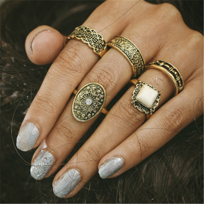 5pcs/Set Bohemian Vintage Punk Antique Gold-Color Resin Finger Rings for Women Bohemian Ring Set Fashion Jewelry GHZTYF