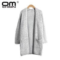 OMCHION Vest Feminino 2017 Herfst V-hals Lange Trui Vrouwen losse Pocket Oversized Knitwear Warme Jas Plus Size 4XL 5XL LS37