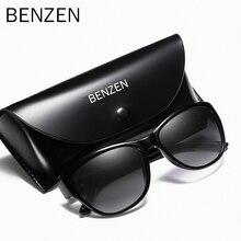 Benzen óculos de sol polarizado feminino, óculos de sol retrô marca de designer para dirigir, uv 400, preto, 6131