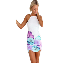 Backless Color Flower  Printing Beach Club Mini Irregular Dresses 2016 Summer New Arrival Sexy Plus Size Women Party Vestidos