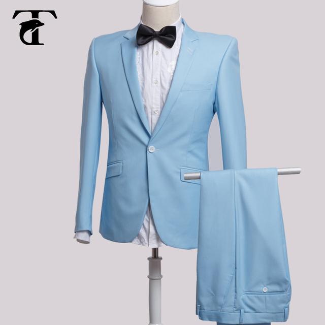Toturn marca homens terno de negócio slim fit terno azul blazer com calças De Casamento para os homens noivo mais recentes modelos casaco calça terno homens